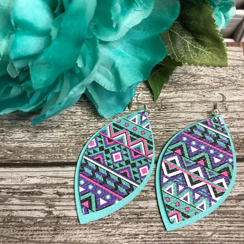 Teal Aztec earrings