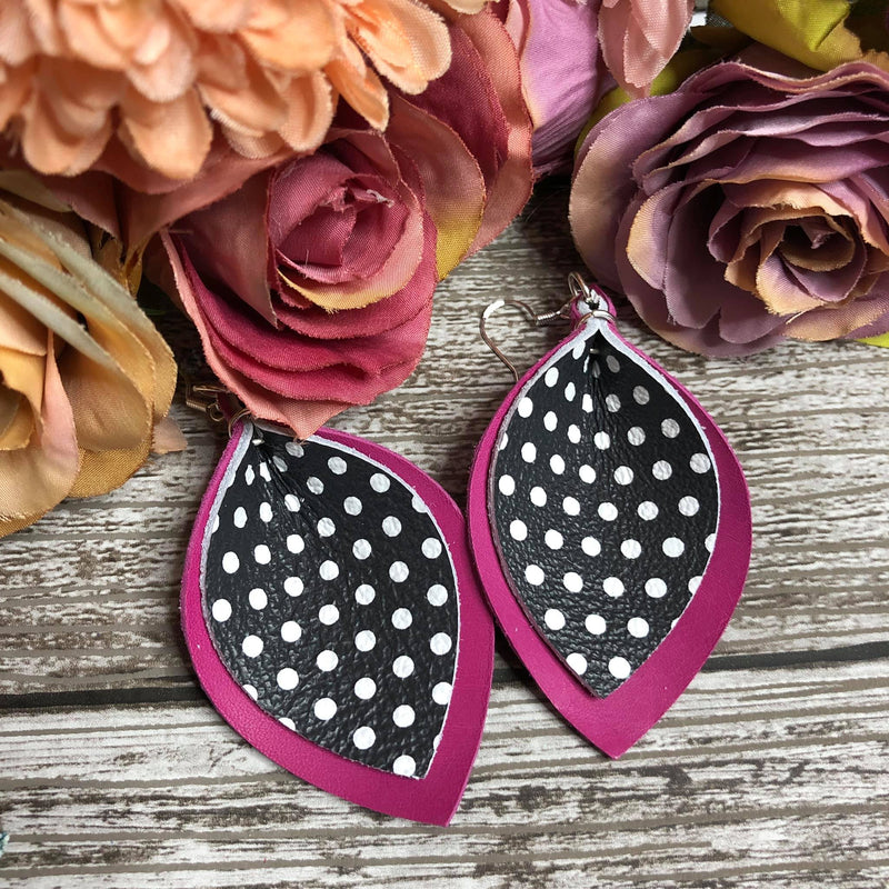 Pink and black polkadot