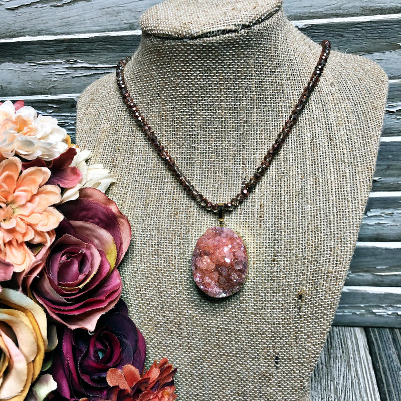 Beaded druzy necklace