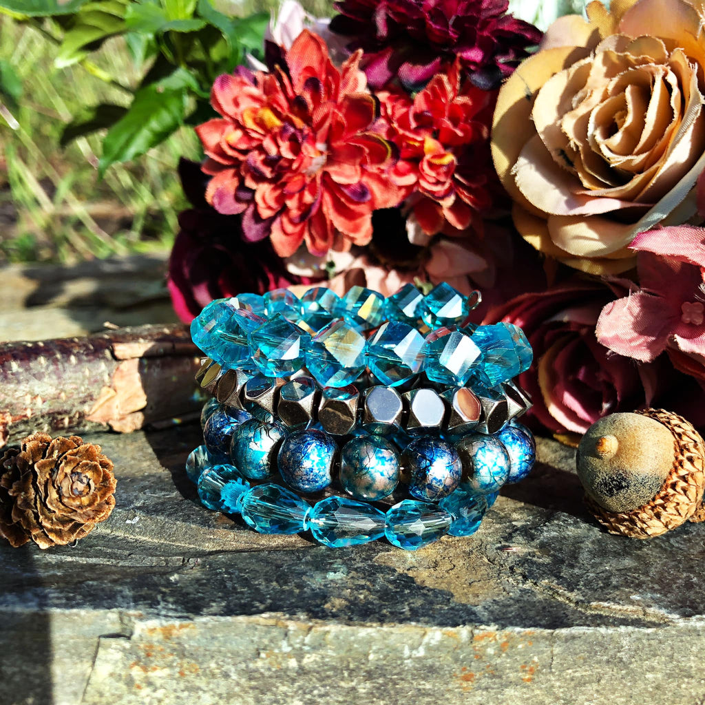 Blue and Silver Sparkling Sugar Stack Bangle