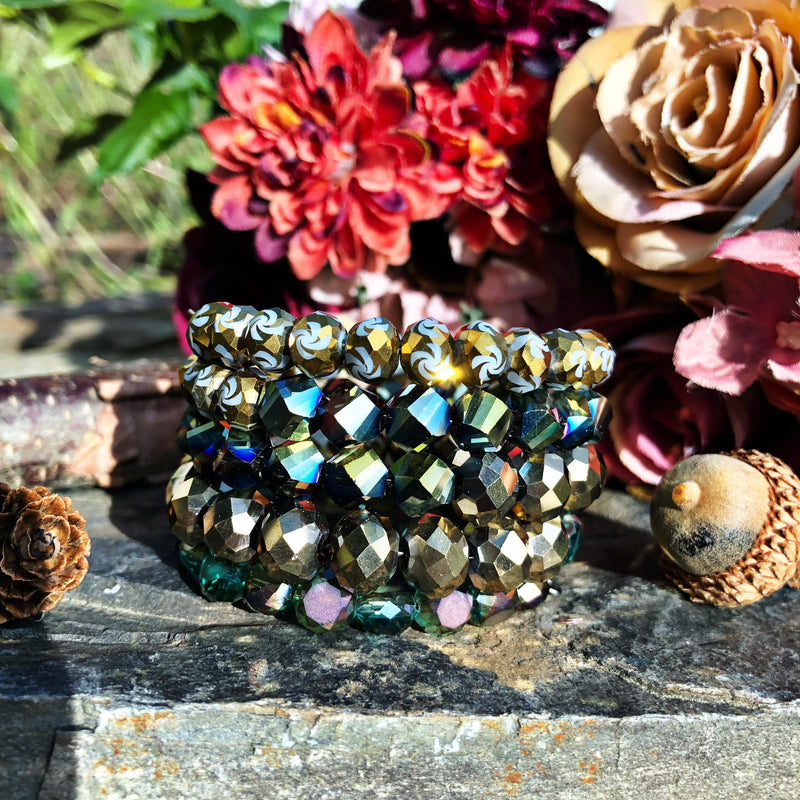 Green and Gold Glittering Sugar Stack Bangle