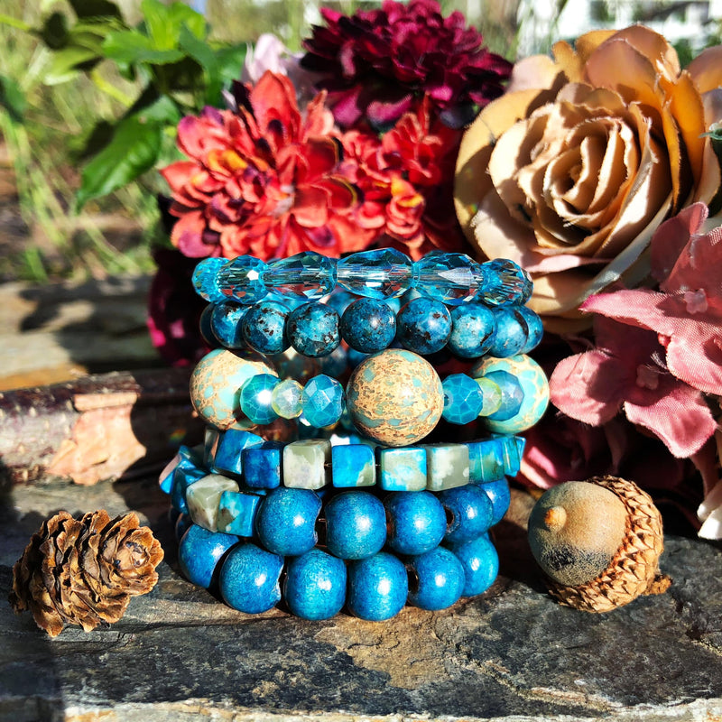 Blue Multi-Beaded Sugar Stack Bangle
