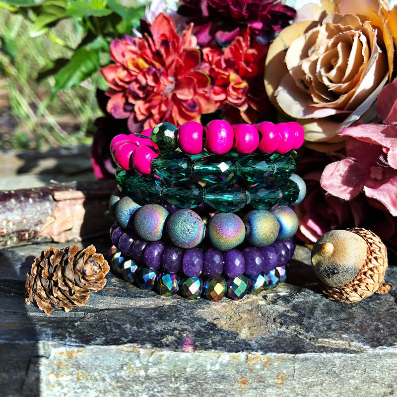 Colorful Wood and Agate Beaded Sugar Stack Bangle