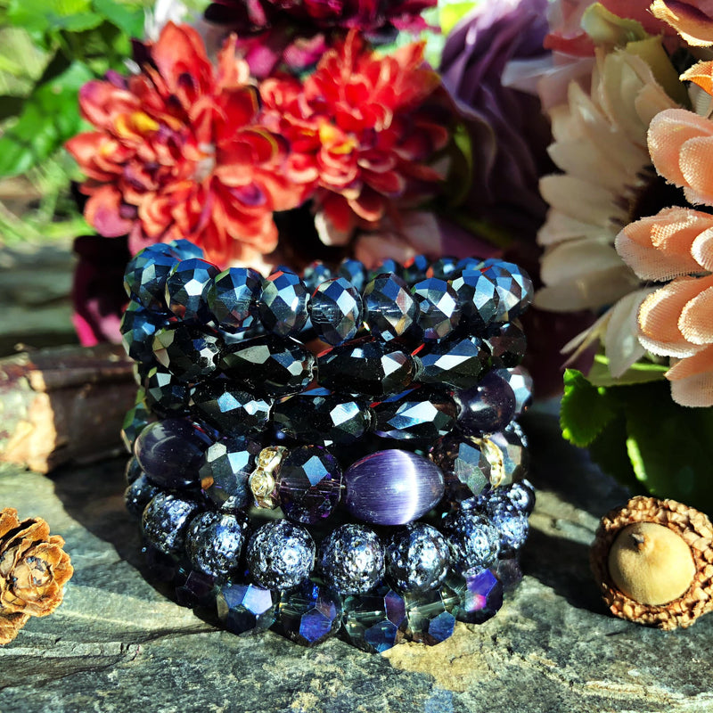 Purple Crystal and Stone Sugar Stack Bangle