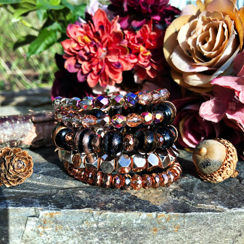 Earth-Toned Peachy Sugar Stack Bangle