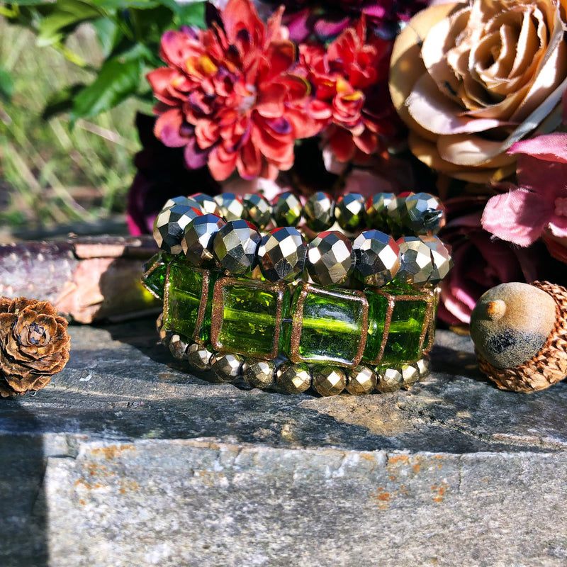 Green and Gold Square Bead Bangle
