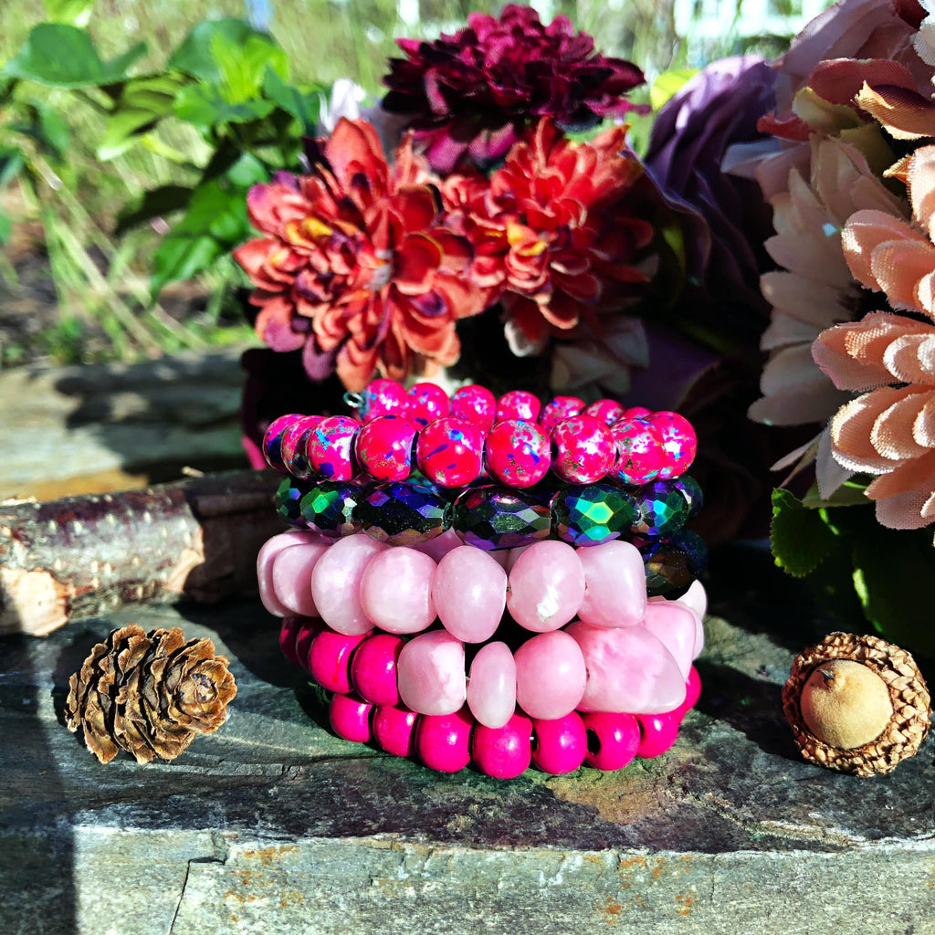 Pink Multi-Beaded Sugar Stack