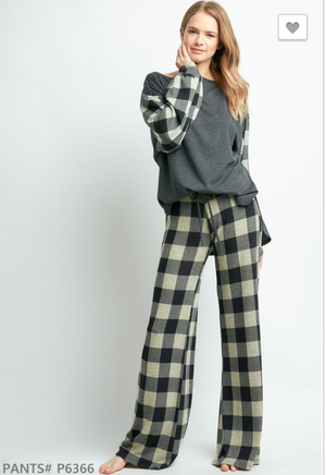 Cozy up by the fire lounge bottom - B&W buffalo plaid
