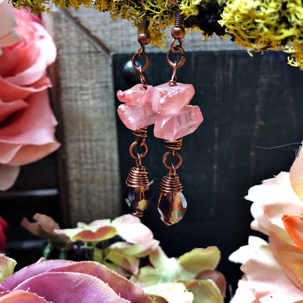 Coral reef crystal drop earring