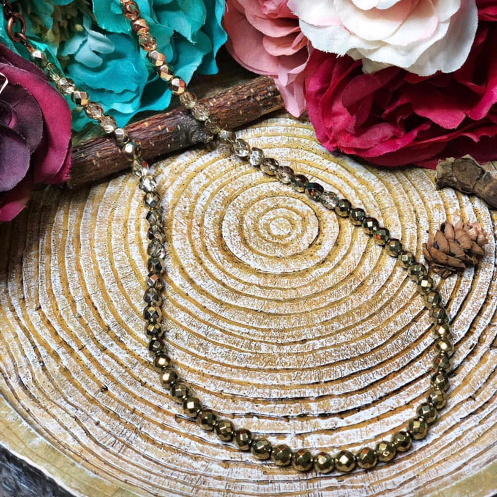 Gold nuggets beaded necklace