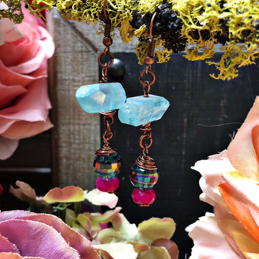 Rough sea crystal and opal drop earring
