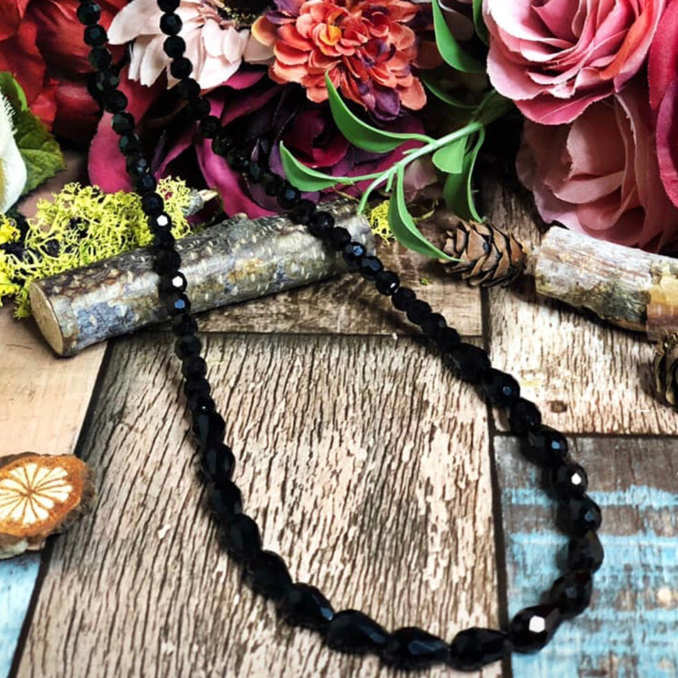 Black magic beaded necklace