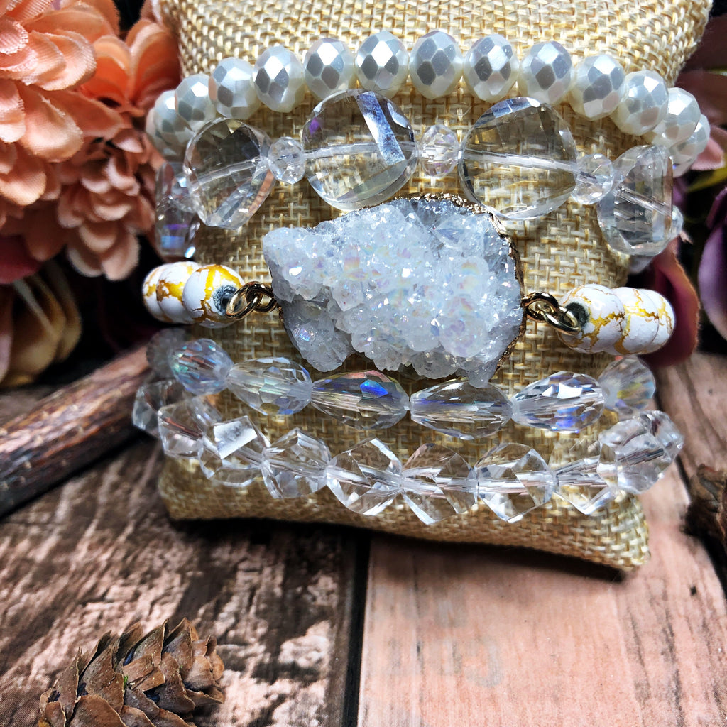 Golden druzy bangle set