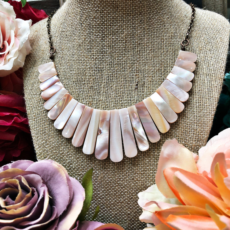 Queen pink abalone necklace