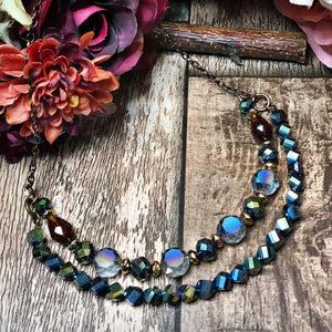 Moonlight on the lake beaded necklace