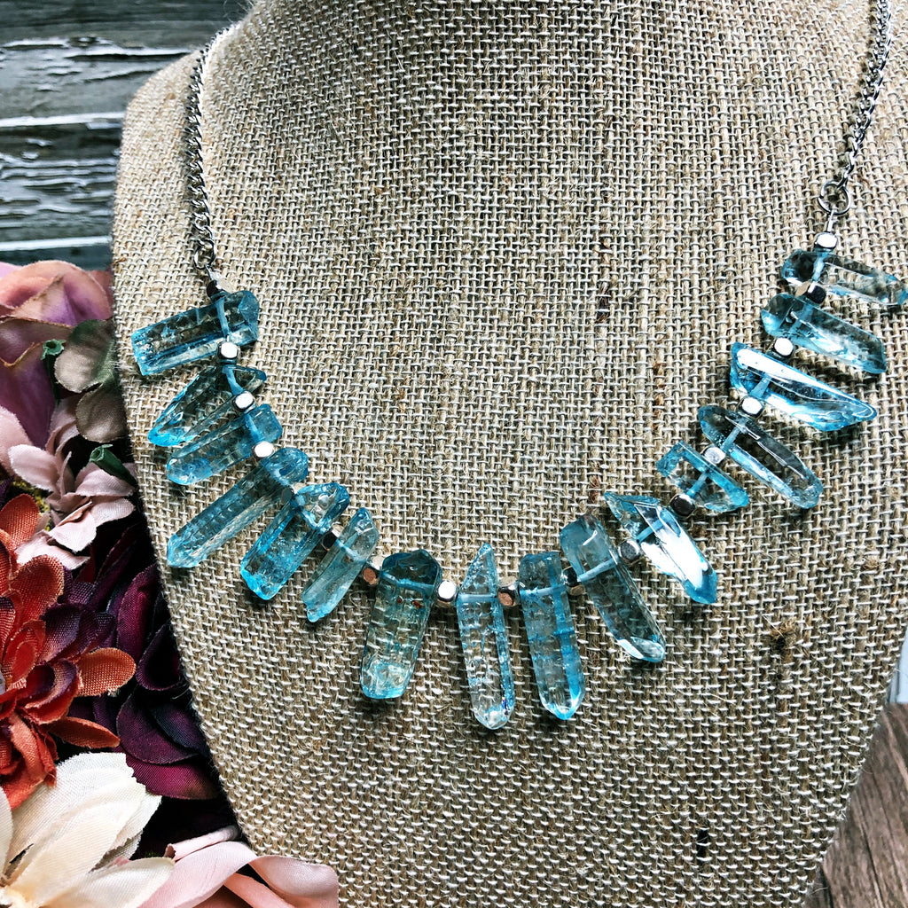 Blue rock crystal necklace