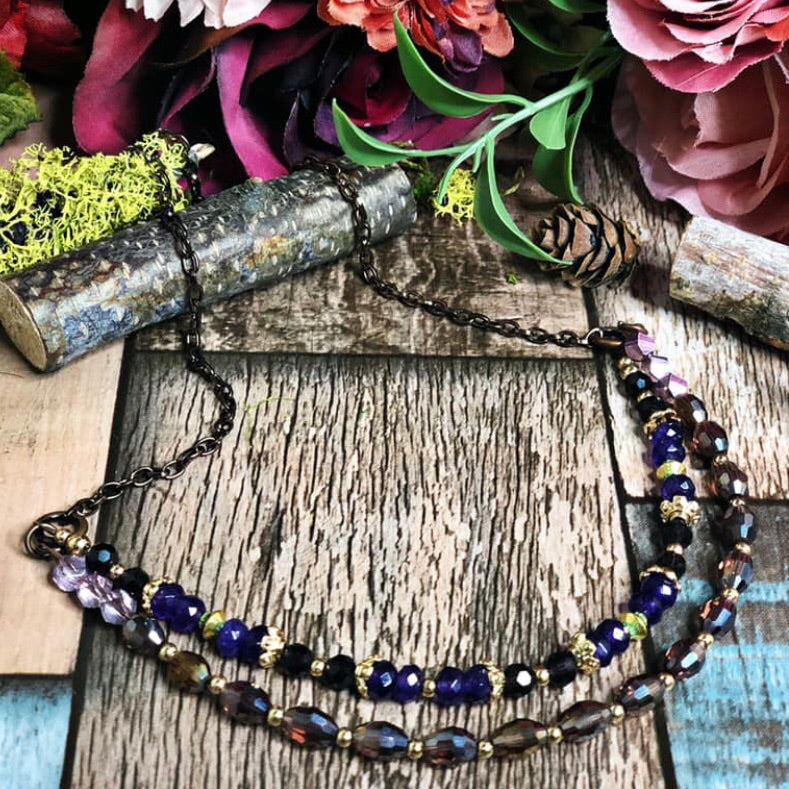 Purple royalty beaded necklace