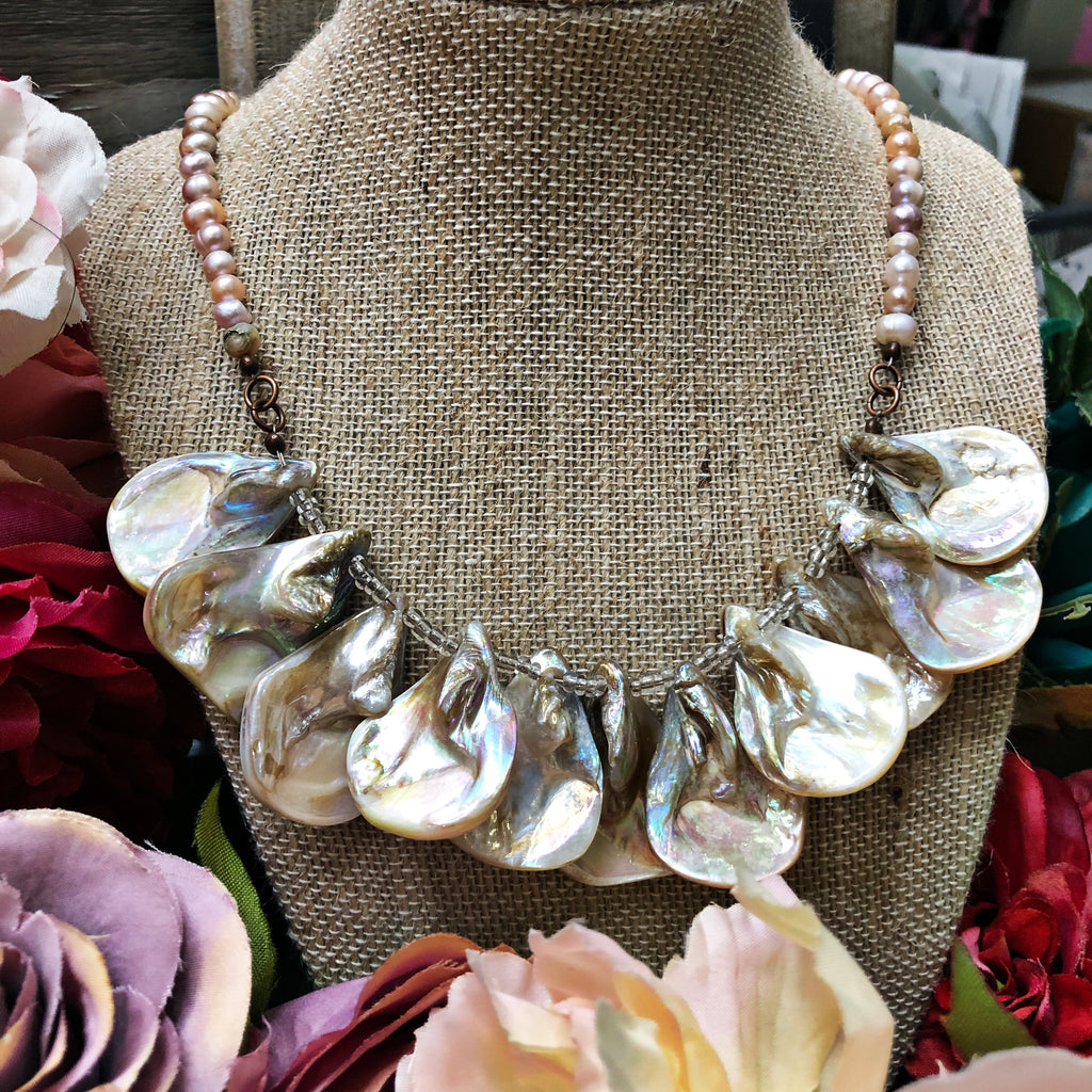 Fresh water pearls and shell necklace
