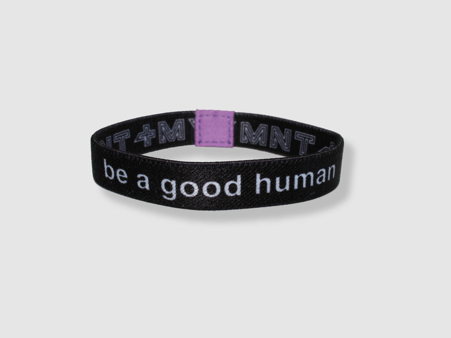 Be a Good Human Reversible Cloth Wristband (Black)