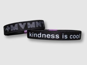 Kindness is Cool Reversible Cloth Wristband (Black)