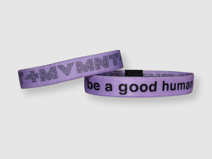 Be a Good Human Reversible Cloth Wristband (Purple)