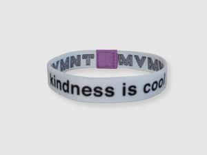 Kindness is Cool Reversible Cloth Wristband (White)