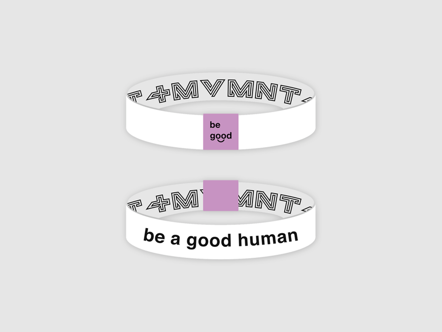 Be a Good Human Reversible Cloth Wristband (White)