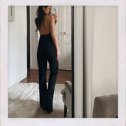 Plunge Pleated Halterneck Jumpsuit