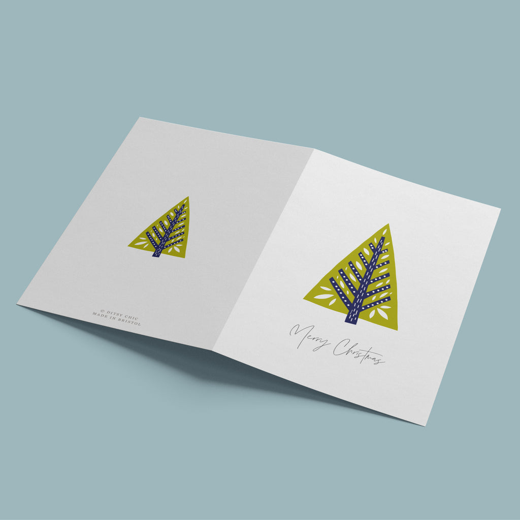 Decorative Folk Tree Christmas Card Pack - Ditsy Chic