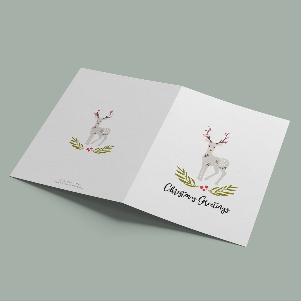 Decorative Folk Reindeer Christmas Card Pack - Ditsy Chic