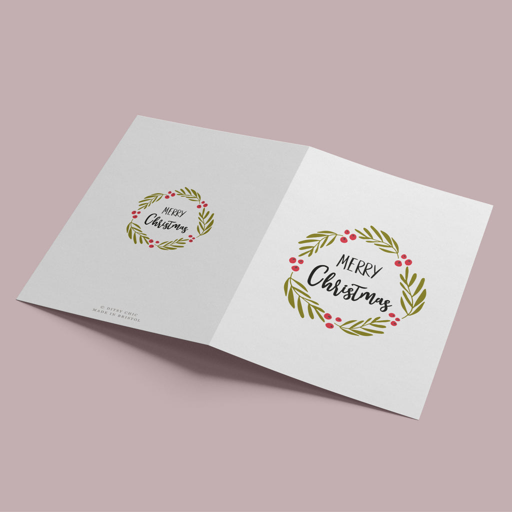 Decorative Folk Wreath Christmas Card Pack - Ditsy Chic