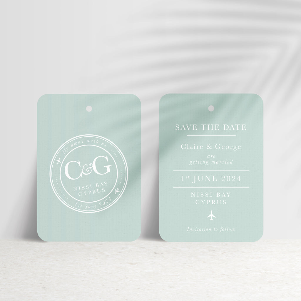 'Fly away with us' Destination Travel Save The Date Wedding Tag - Ditsy Chic