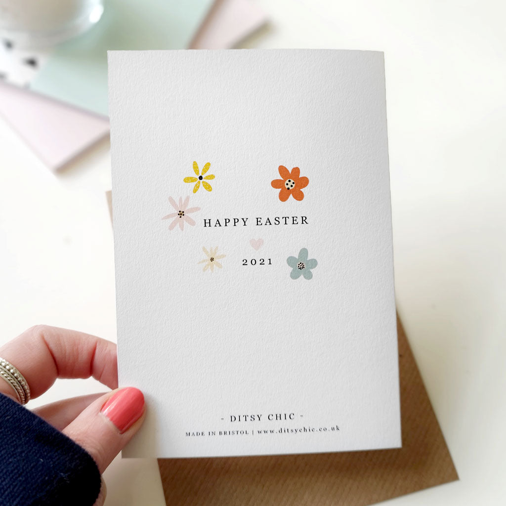 Floral Personalised Happy Easter Card With Secret Photo - Ditsy Chic