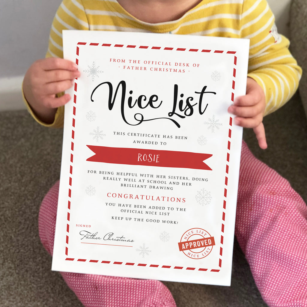 Personalised Santa's Nice List Christmas Certificate - Ditsy Chic