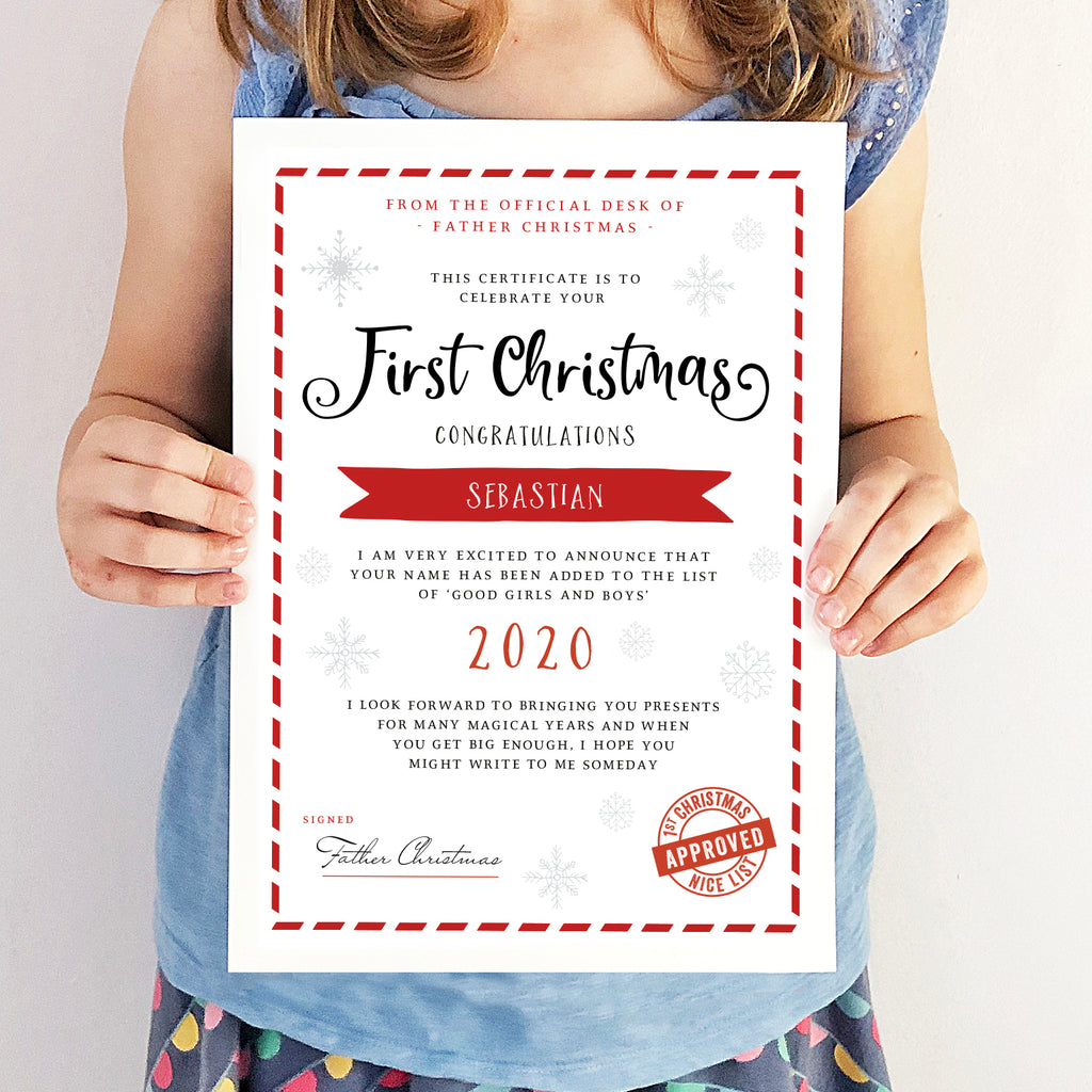 Personalised First Christmas Nice List Certificate - Ditsy Chic