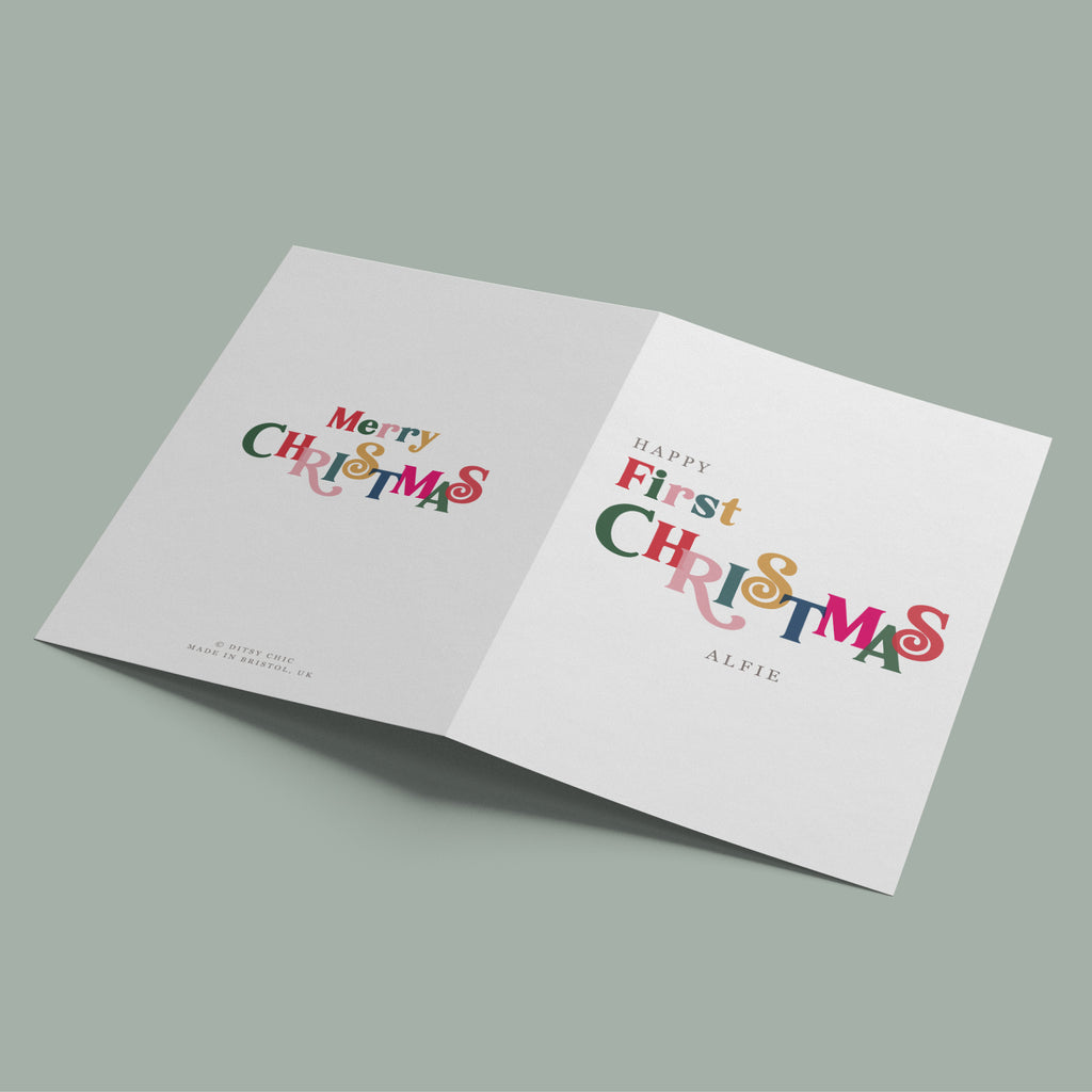 Personalised Baby's First Christmas Card - Ditsy Chic