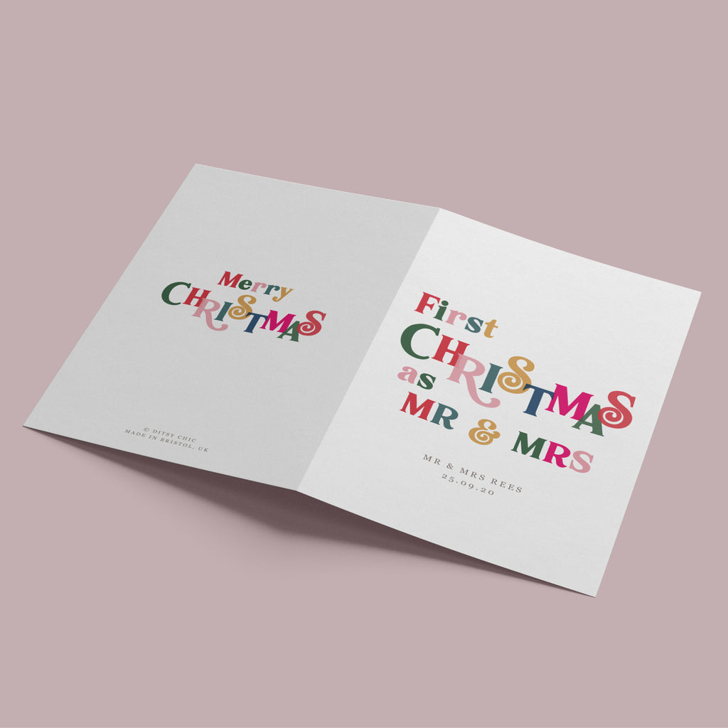 Personalised 'First Year As Mrs And Mrs' Christmas Card - Ditsy Chic