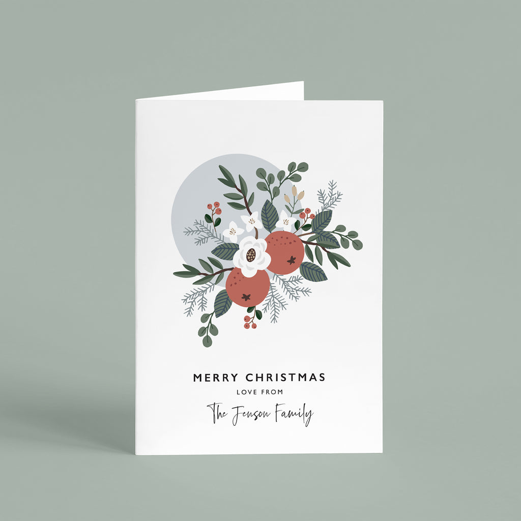 Personalised Floral Bouquet Christmas Card Pack - Ditsy Chic