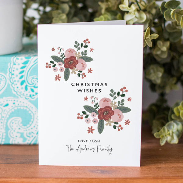 Personalised Christmas Bouquet Family Card Pack - Ditsy Chic