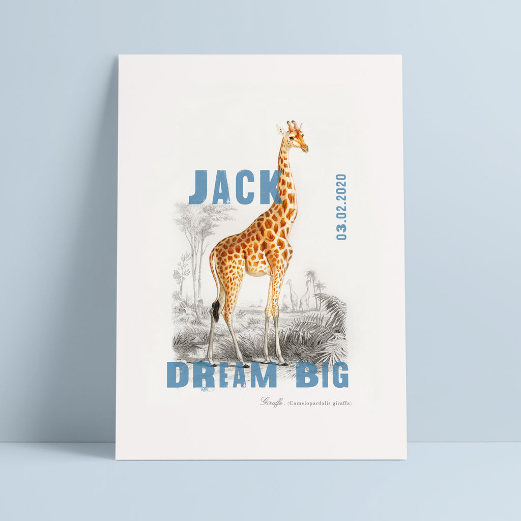 Personalised Giraffe Name And Date Nursery Print - Ditsy Chic