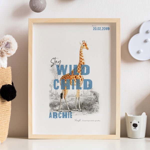 Personalised Stay Wild Child Giraffe Nursery Name Print - Ditsy Chic