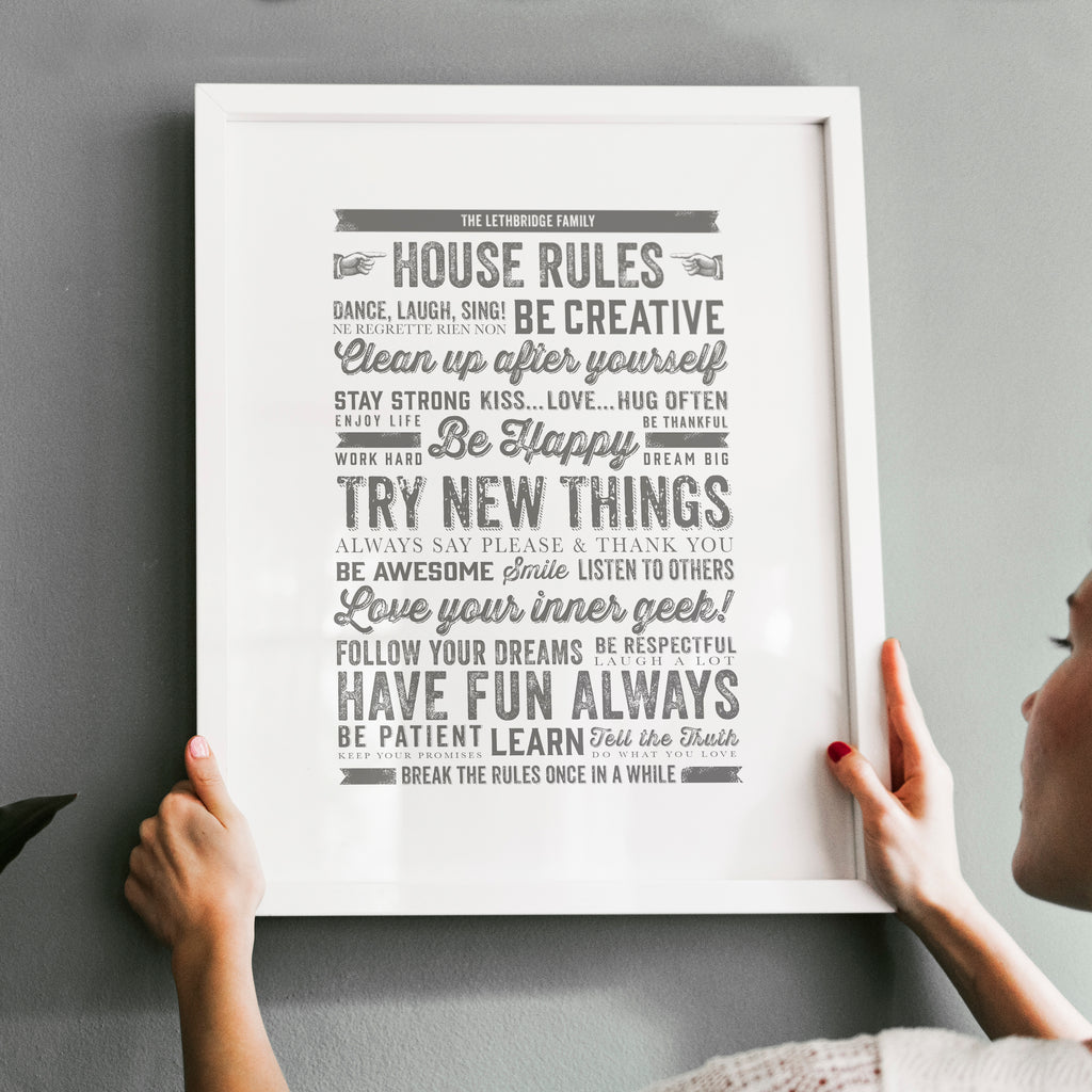 Personalised Family House Rules Print - Ditsy Chic