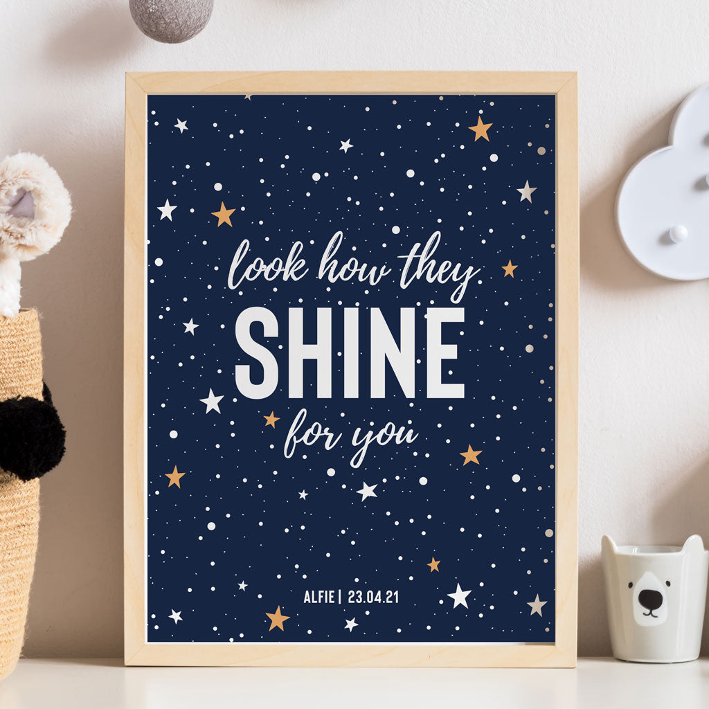 'Look how they shine for you' Star Personalised Print - Ditsy Chic