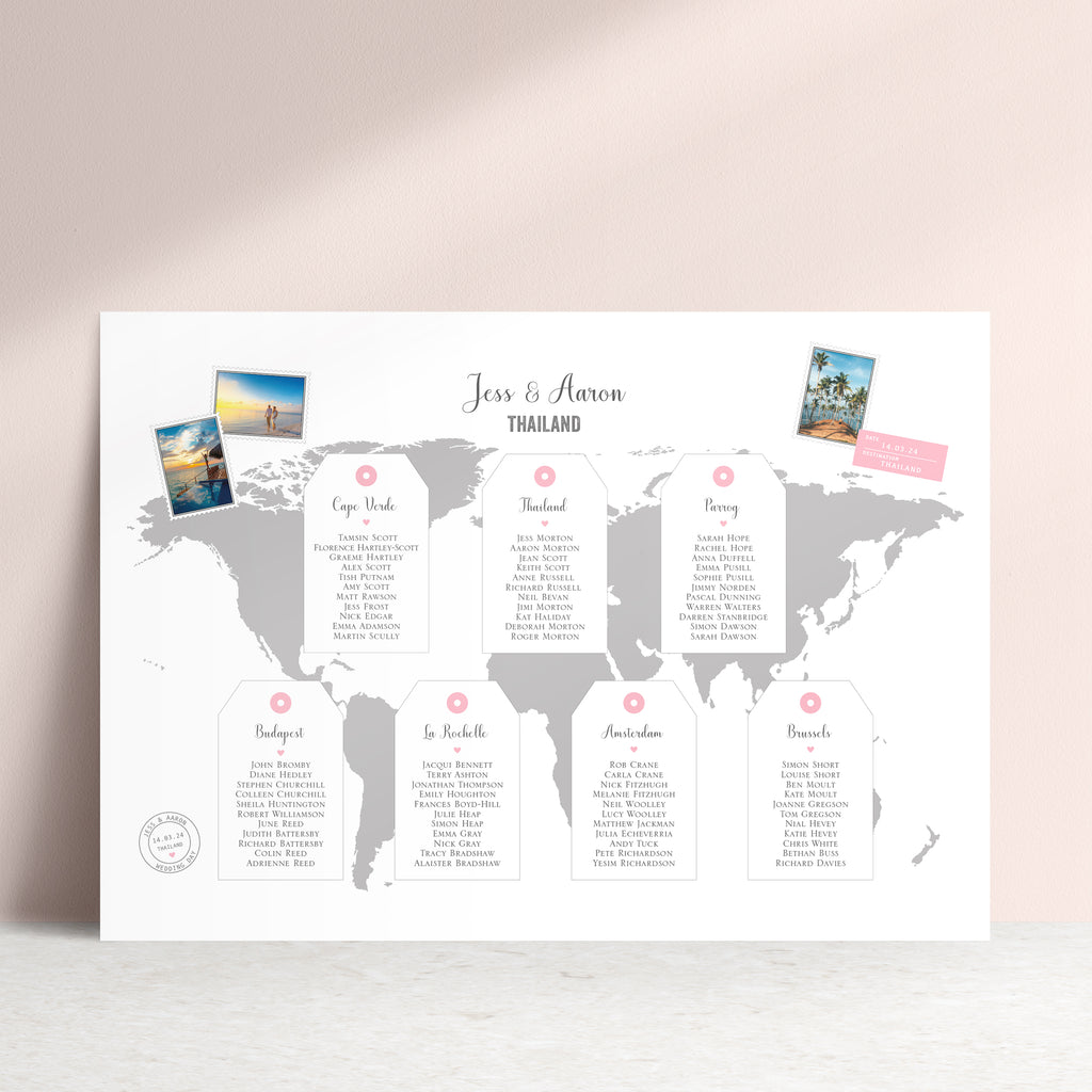 World Map Wedding Table Plan - Ditsy Chic