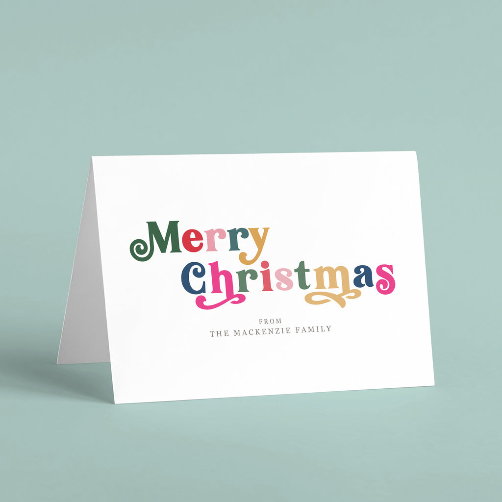 Personalised 'Merry Christmas' Family Name Card Pack - Ditsy Chic