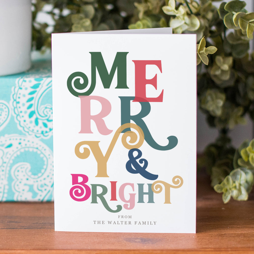 Personalised 'Merry And Bright' Christmas Card Pack - Ditsy Chic