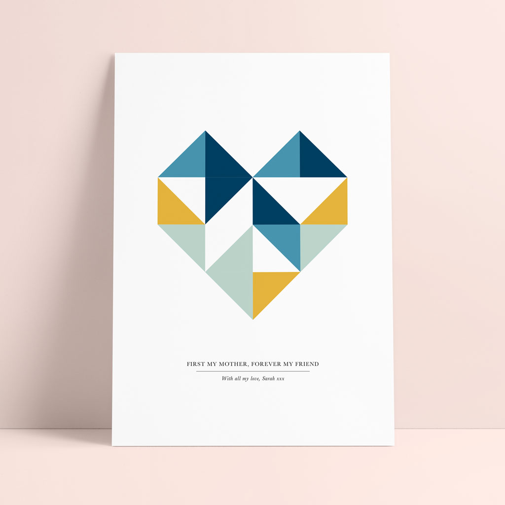 Personalised Mother's Day Geometric Heart Print - Ditsy Chic