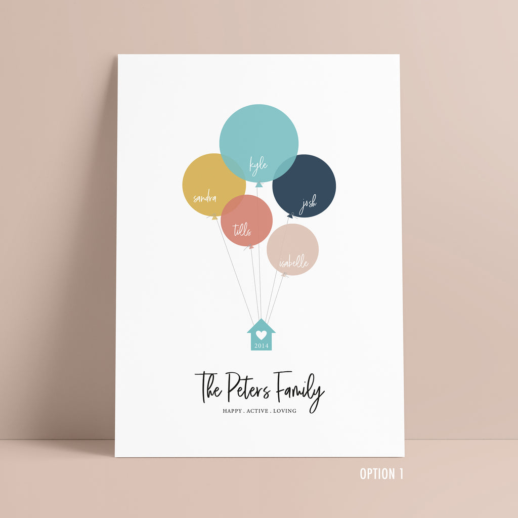 Personalised Balloon Family Tree Print - Ditsy Chic