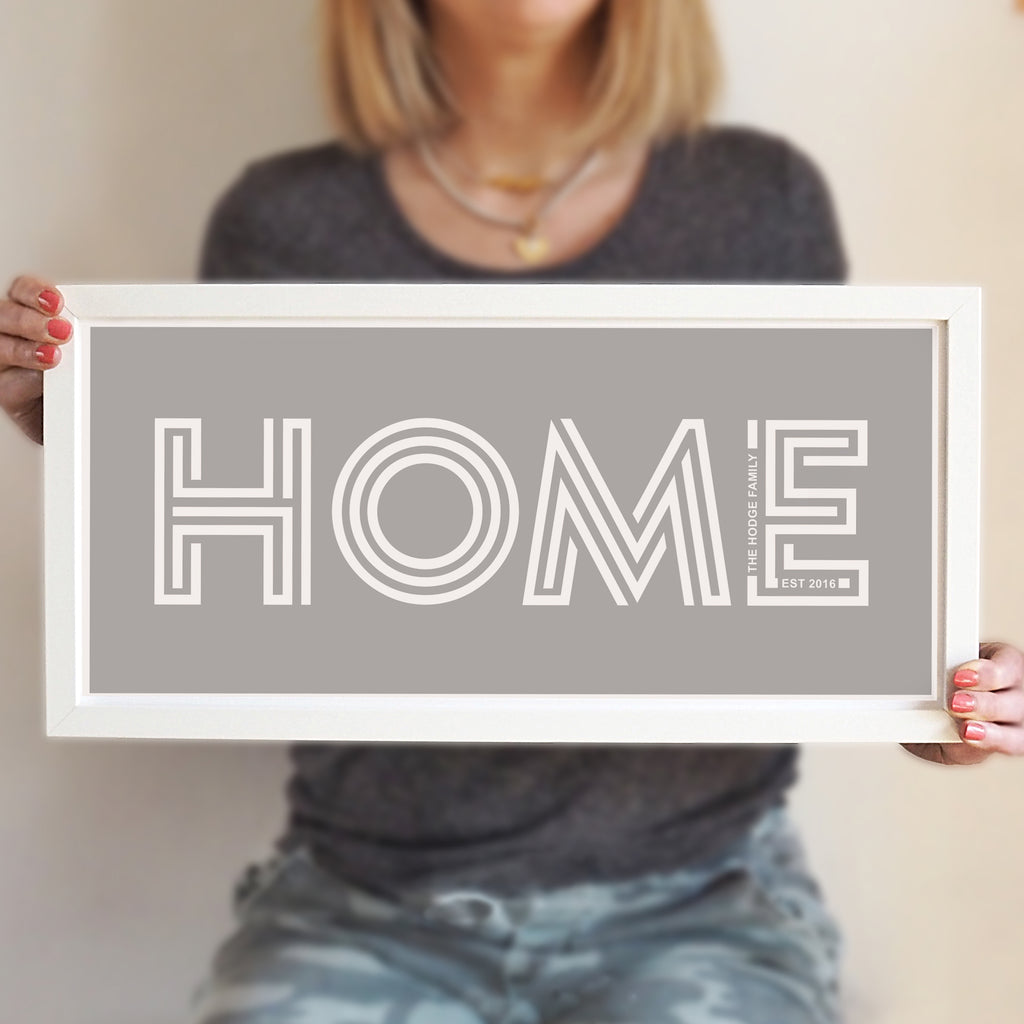 One Word 'Home' Print with Personalised Secret Message - Ditsy Chic