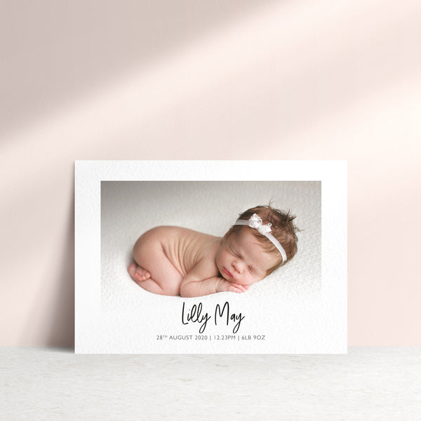Personalised Landscape Baby Photo Announcement Card - Ditsy Chic